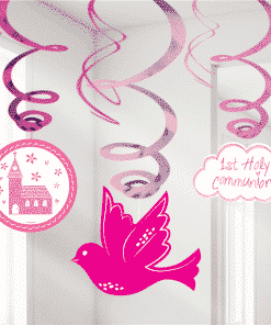 First Holy Communion Pink Party Swirl Decorations