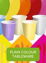PLAIN COLOUR PARTY THEMES PAPER & PLASTIC PLATES, CUPS & NAPKINS