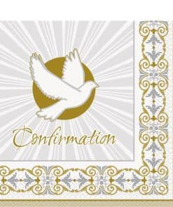 Silver & Gold Radiant Cross Party Confirmation Napkins