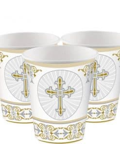Silver & Gold Radiant Cross Party Cups