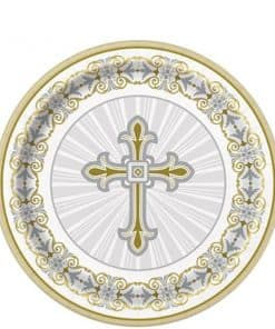 Silver & Gold Radiant Cross Party Paper Dessert Plates