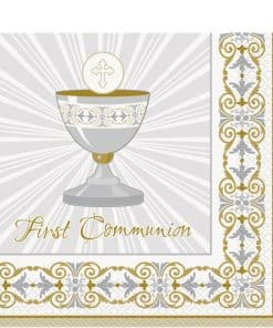 Silver & Gold Radiant Cross Party First Holy Communion Napkins