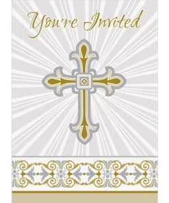 Silver & Gold Radiant Cross Party Party Invitation Cards