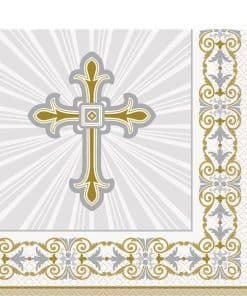 Silver & Gold Radiant Cross Party Napkins