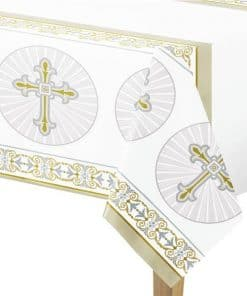 Silver & Gold Radiant Cross Party Plastic Tablecover