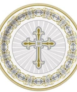 Silver & Gold Radiant Cross Party Paper Plates