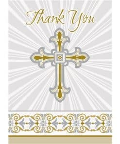 Silver & Gold Radiant Cross Party Thank You Cards