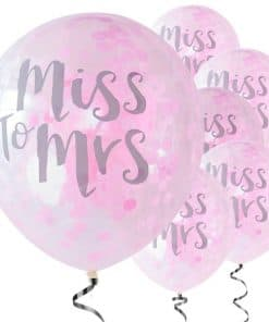Team Bride 'Miss to Mrs' Pink Confetti Latex Balloons