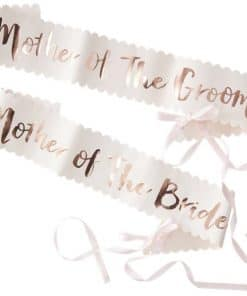 Team Bride Rose Gold Foiled Paper Mother of the Bride & Groom Sashes