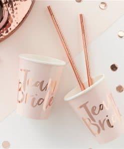 Team Bride Rose Gold Paper Cups