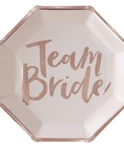 Team Bride Rose Gold Paper Plates