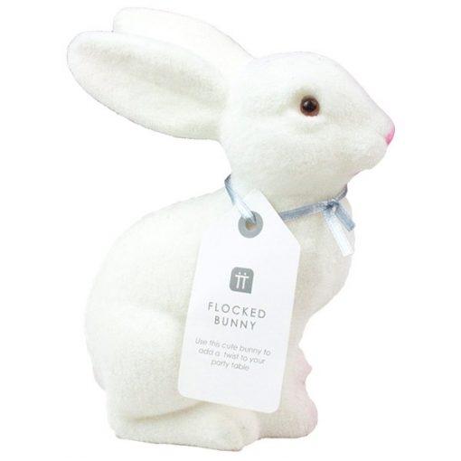 Truly Bunny Flocked White Bunny Decoration