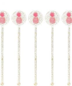 Aloha Summer Glitter Pineapple Drink Stirrers