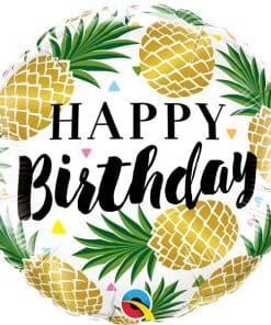 Birthday Golden Pineapples Foil Balloon