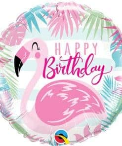 Happy Birthday Pink Flamingo Foil Balloon