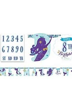 Mermaid Wishes Party Jumbo Letter Banner Add an age