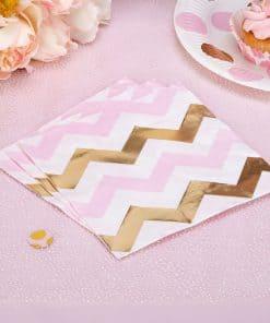 Pattern Works Pink & Gold Chevron Napkins