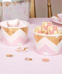 Pattern Works Pink & Gold Chevron Treat Tubs