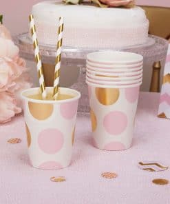 Pattern Works Pink & Gold Polka Dots Cups
