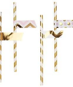 Pattern Works Pink & Gold Chevron Straw Flags