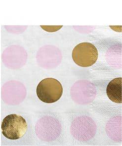 Pattern Works Pink & Gold Polka Dot Napkins