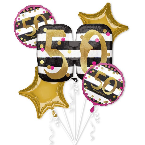 50th Birthday Pink Gold Foil Balloon Bouquet