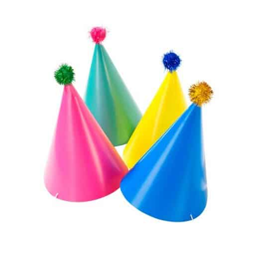 Birthday Brights Party Hats with Pom Poms