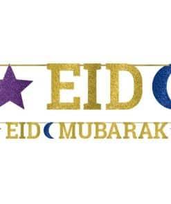 Eid Ribbon Glitter Letter Banner