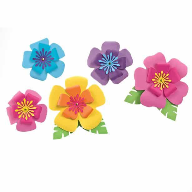 Hawaiian Hibiscus Paper Flower Decorations Pk 5