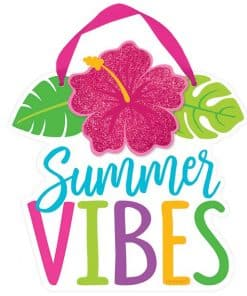 Hawaiian Hibiscus Summer Vibes Mini Sign