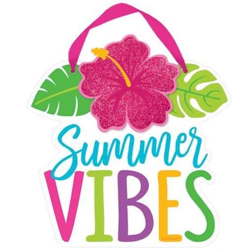 Hawaiian Hibiscus Summer Vibes Mini Sign