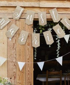 Rustic Country Just Married Hessian Bunting