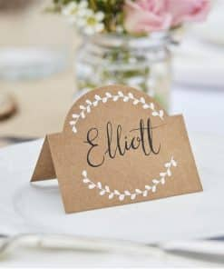 Rustic Country Wedding Kraft and White Vine Place Cards