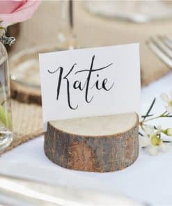 Rustic Country Wedding Mini Wooden Log Place Card Holder