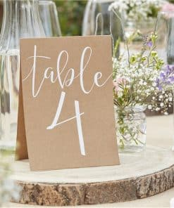 Rustic Country Wedding Table Number Cards