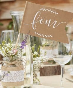 Rustic Country Wedding Table Number Flags