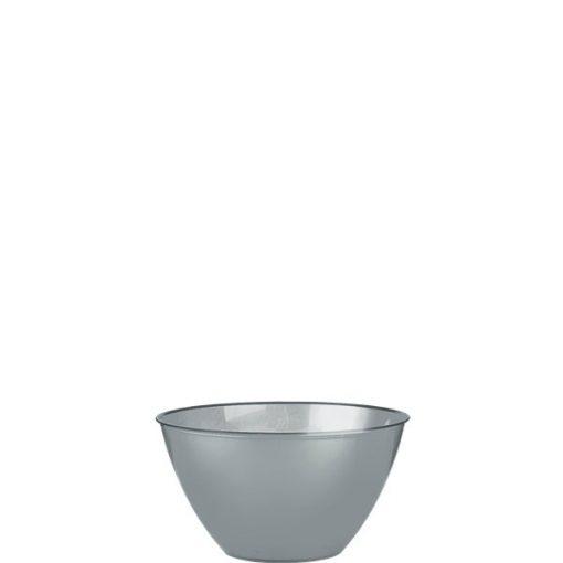 Silver Plastic Serving Bowl