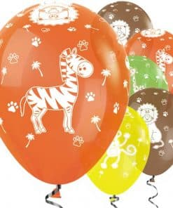 Tropical Mix Jungle Animal Printed Latex Balloons
