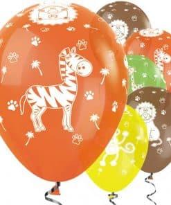 Tropical Mix Jungle Animal Printed Latex Balloons