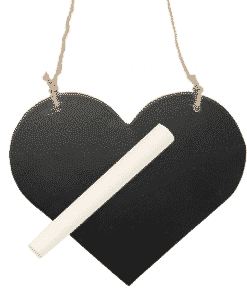 Wooden Blackboard Heart on String