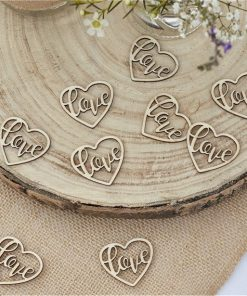 Rustic Country Wooden Heart Love Confetti