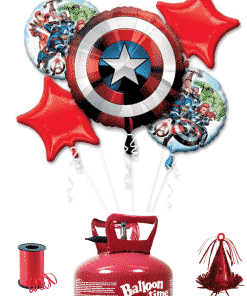 Avengers 5 x Balloon Decorating Kit Including Helium, Ribbon & Weight