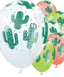 Cactus White, Coral & Lime Green Balloons