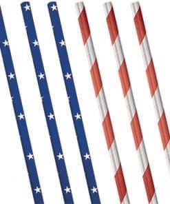 Celebrate USA Metallic Paper Straws