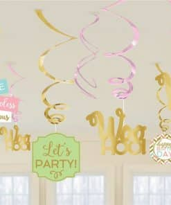 Confetti Fun Birthday Hanging Swirl Decorations