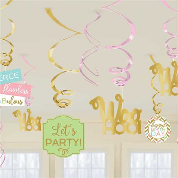 Confetti Fun Birthday Hanging Swirl Decorations