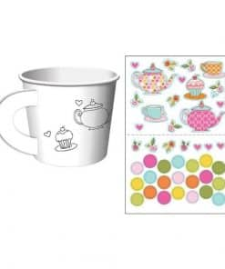 Afternoon Tea Time Party Treat Cups with Stickers