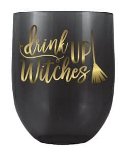 Halloween Drink Up Witches Stemless Wine Glass