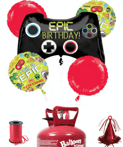 Epic Gaming 5 x Balloon Decorating Kit Including Helium, Ribbon & Weight