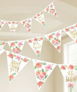 Floral Baby Party Pennant Banner